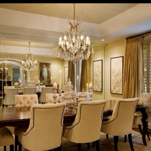 Glam dining room w wall of mirrors new house pinterest - Mirror on dining room wall ...