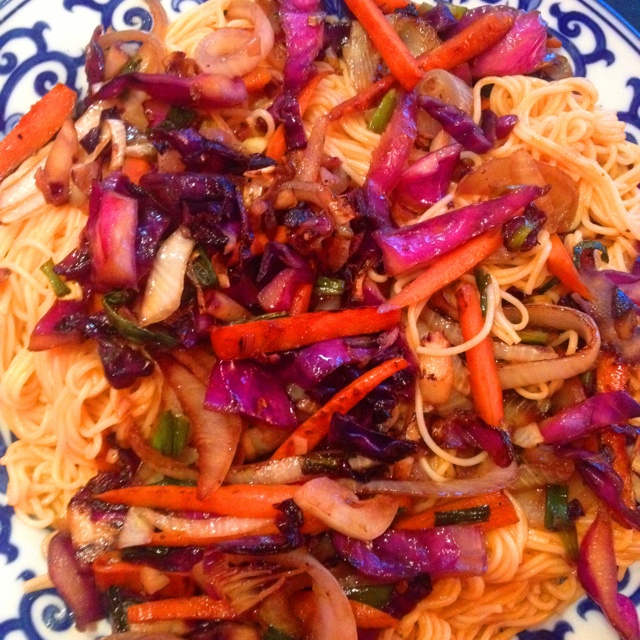 What I made for my honey tonight. Organic Japanese somen noodles with ...