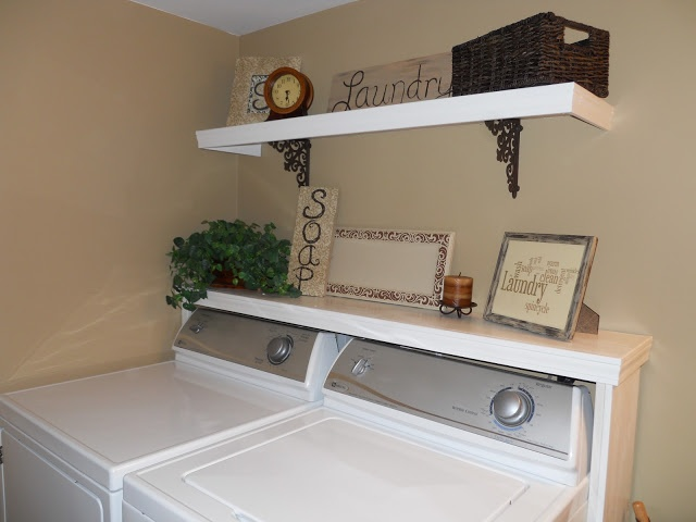 shelf above the washer and dryer for the home pinterest. Black Bedroom Furniture Sets. Home Design Ideas