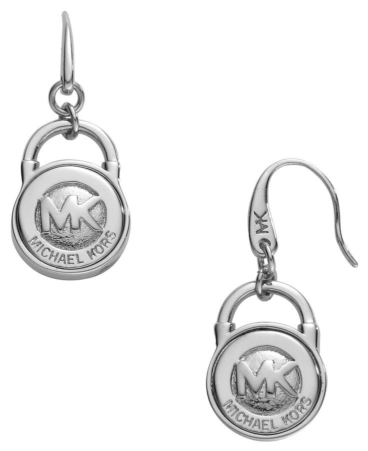 Michael kors lock earrings silver