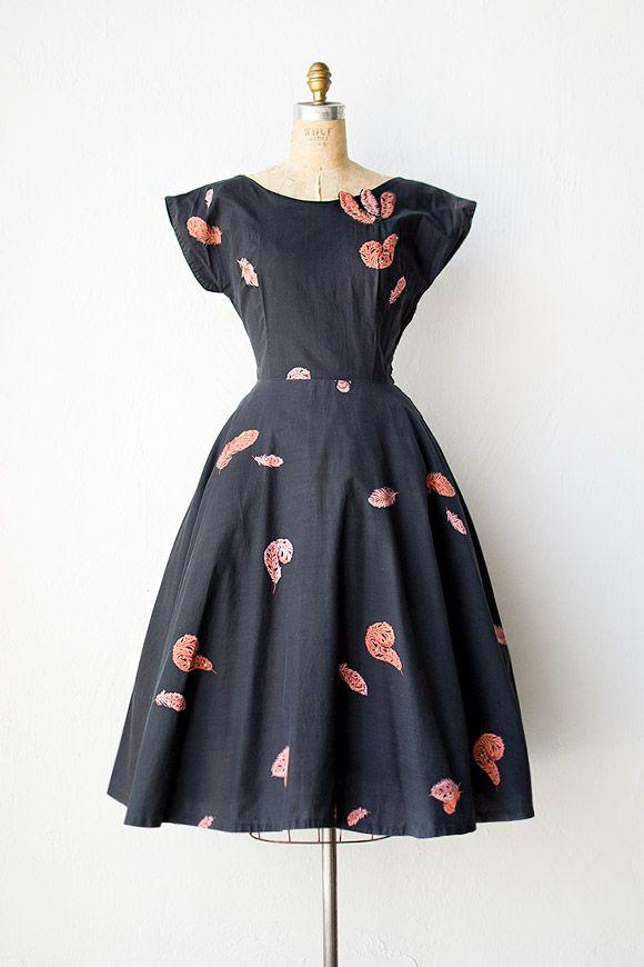 vintage 1950s dress | 50s dress | Rosefinch Feathers Dress