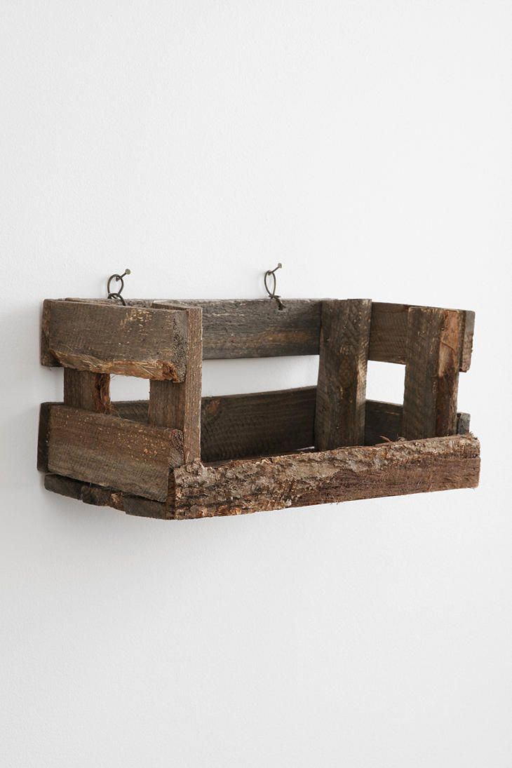 reclaimed wood crate wall shelf. Black Bedroom Furniture Sets. Home Design Ideas