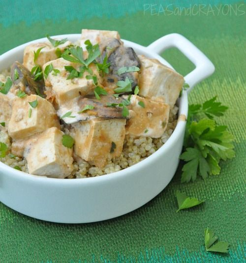 Tofu Stroganoff with Fluffy Quinoa--substitute corn starch for butter ...
