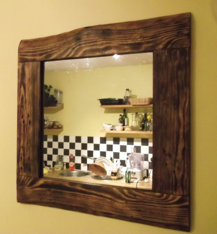 Mirror in recycled pallet wood frame https://www.etsy.com/uk/listing ...