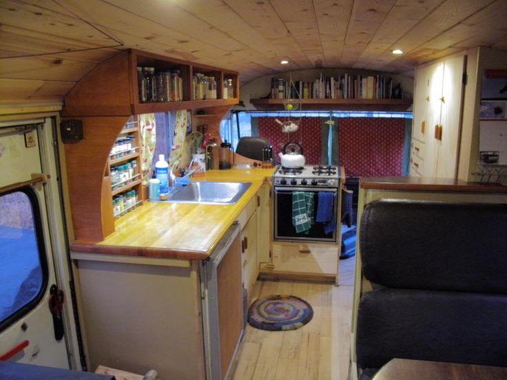 Converted school bus rvs pinterest for Bus interior designs