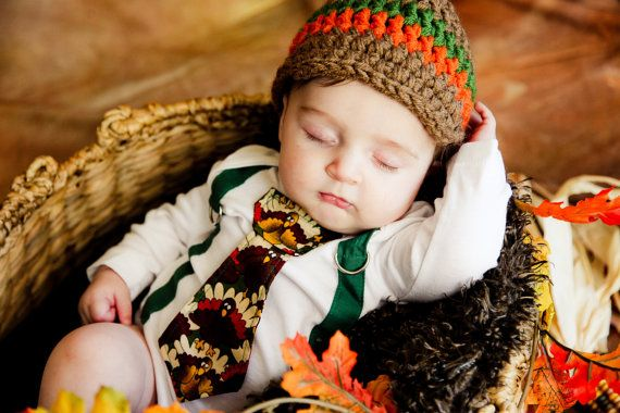 Fall Thanksgiving Baby Boy tie Bodysuit with Suspenders and Visor Crocheted Hat - GET THE SET - Thanksgiving, Fall, Winter - Pick your own on Etsy, $36.00