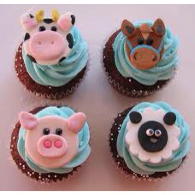 Farm animal cupcakes cake decorating pinterest
