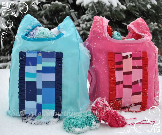 Blue and Pink Patchwork Fold'n Roll Shopping Bags | Flickr - Photo Sharing!