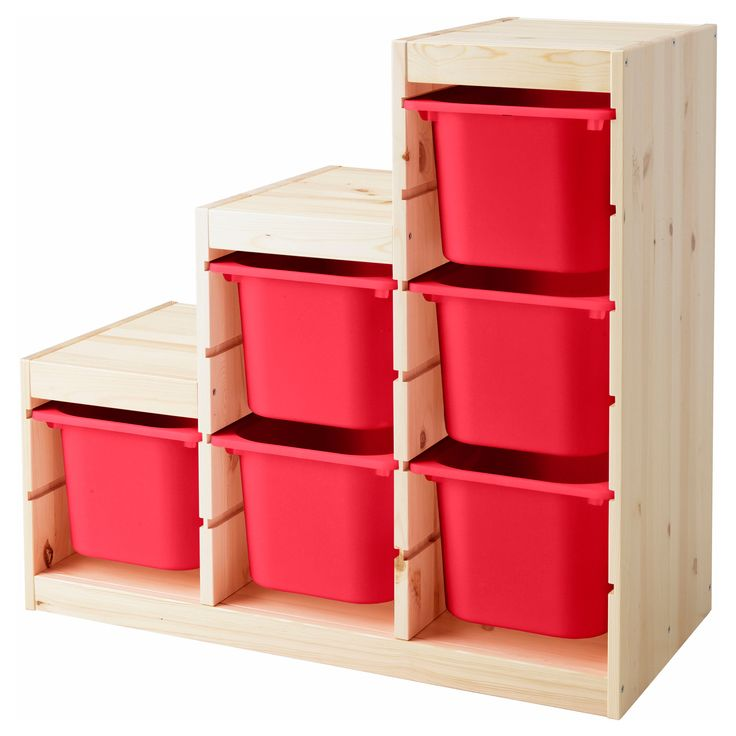 Trofast storage combination with boxes pine red for Large toy box ikea