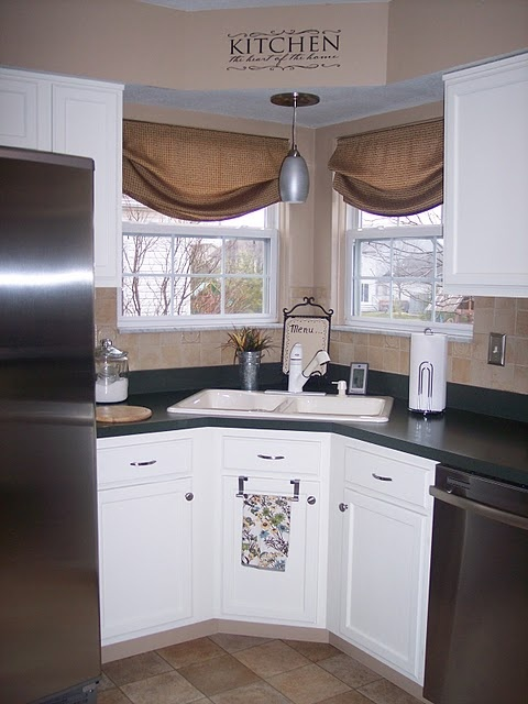 corner kitchen sink kitchens pinterest