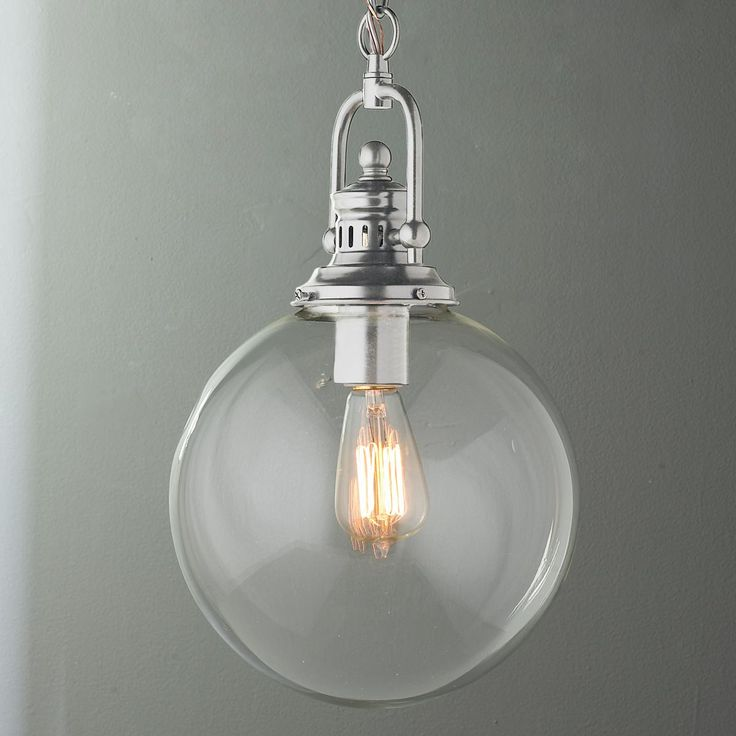 Clear Glass Globe Industrial Pendant A Clear Glass Globe