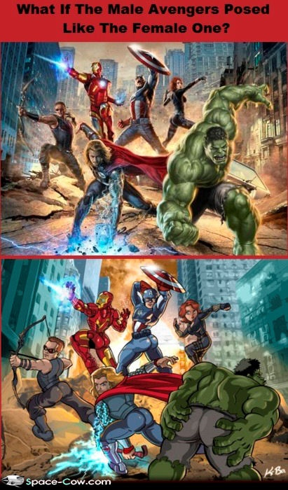 If the male avengers were to pose as the female ones....