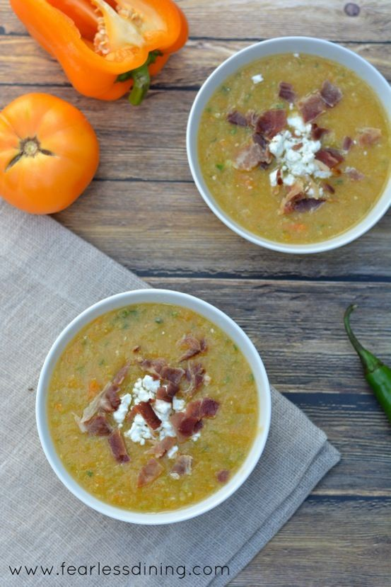 Yellow Heirloom Tomato and Tomatillo Gazpacho http://www ...