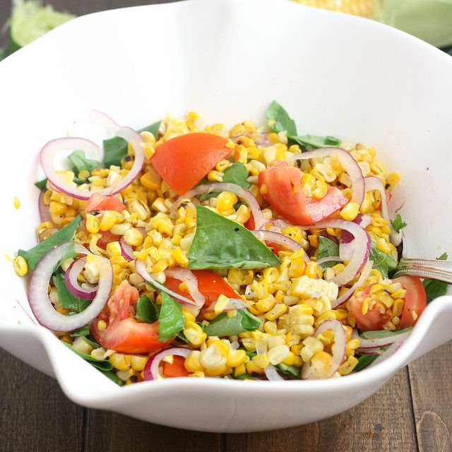 Charred Corn Salad with Basil and Tomatoes by Tracey's Culinary ...