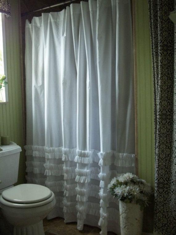 White Cotton Ruffles Shower Curtain Shabby Chic Cottage Beach