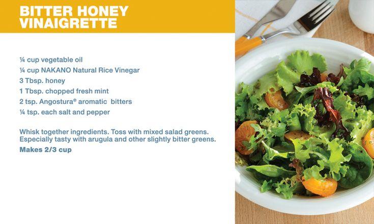 Bitter Honey Vinaigrette recipe made with Angostura aromatic bitters # ...