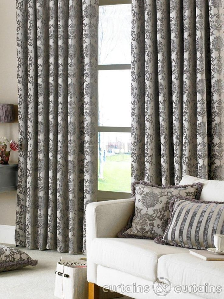 Grey pattern curtains | My Purple Living Room Ideas.. | Pinterest