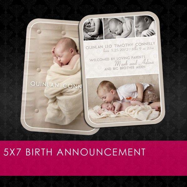 free 5x7 birth announcement template newborn children photography