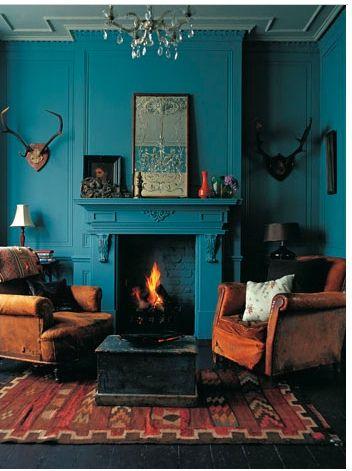 blue walls & fireplace