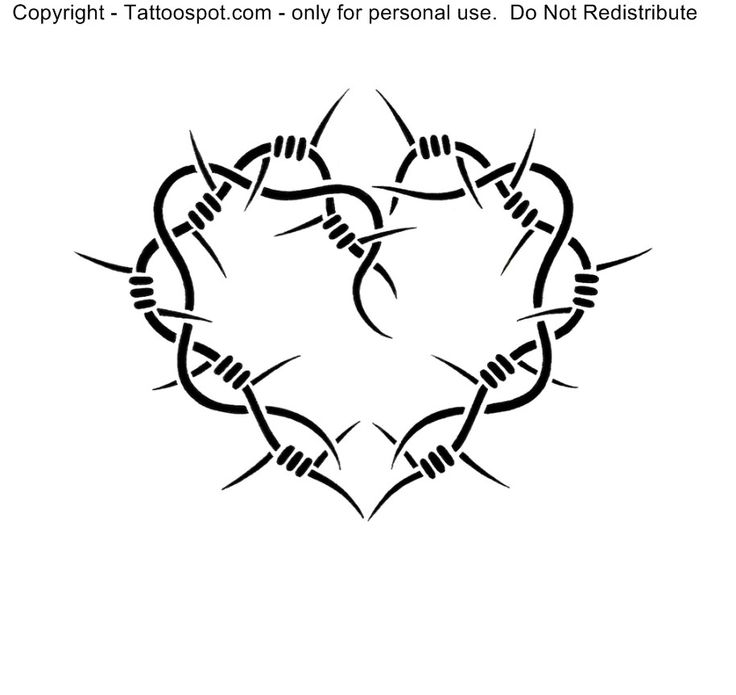 barbed wire heart drawing - photo #29