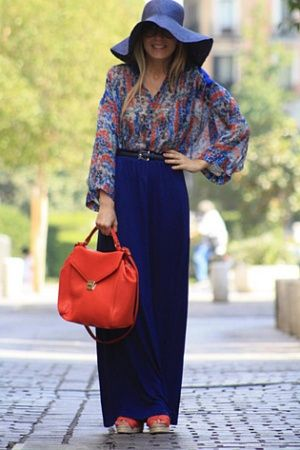 maxi with a floral shirt and floppy hat