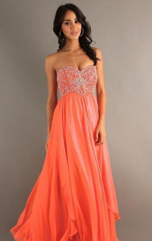 Salmon Colored Prom Dress