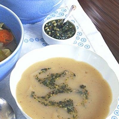 ... Potato Soup with Sage and Toasted-Walnut Pesto Recipe - Delish.com