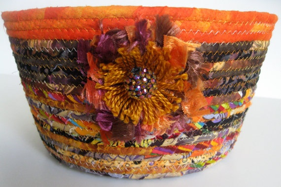 Ready for the autumn season? Harvest Coiled Rope Basket  Upcycled Planter by SallyManke on Etsy, $38.00