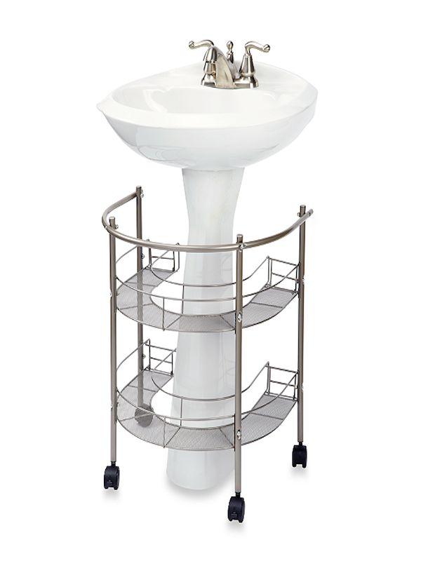 Pedestal sink organizer bathroom Pinterest