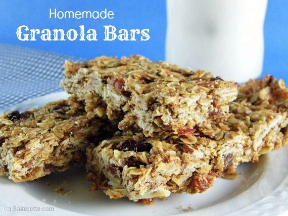 Healthy Homemade Granola Bars | Bakerette.com #recipe #snacks #granola