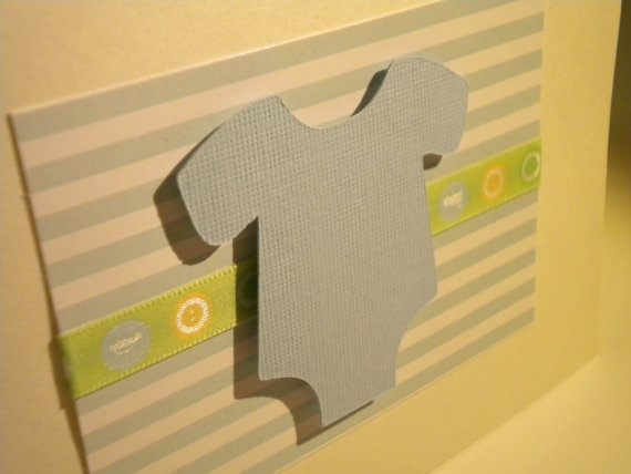 Pale Blue Onesie with Green Stripe Cards - Announcement, Thank you, B ...