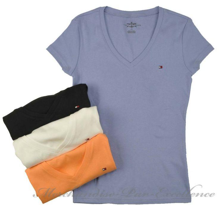 1 new womens tommy hilfiger short sleeve v neck t shirt. Black Bedroom Furniture Sets. Home Design Ideas