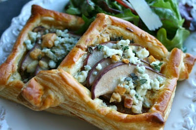 Carmelized Onion Tarts with Pears and Gorgonzola