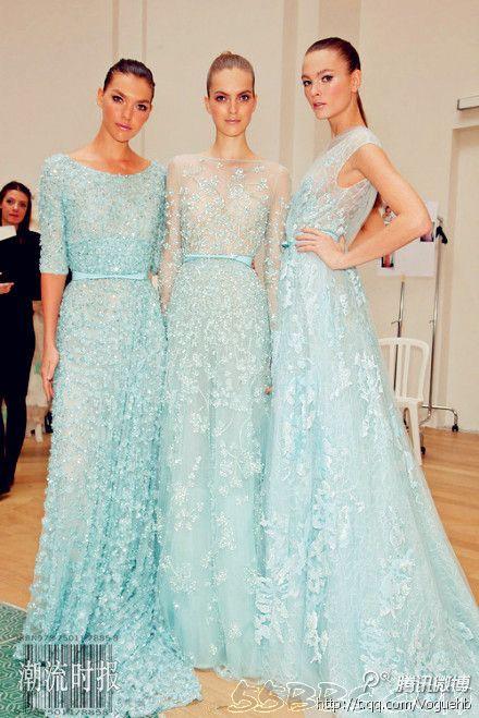 Pretty ice blue ball gown wedding dress bridesmaid for Ice blue wedding dress
