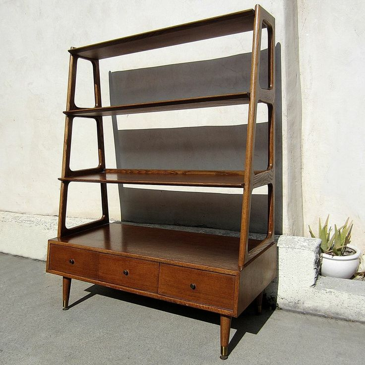 mid century modern furniture wall divider shelf three. Black Bedroom Furniture Sets. Home Design Ideas