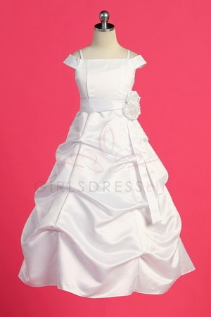 White Satin A-line Pick-up Long  Flower Girl Dress with Sleeves. I'm thinking this dress for the two little ones.