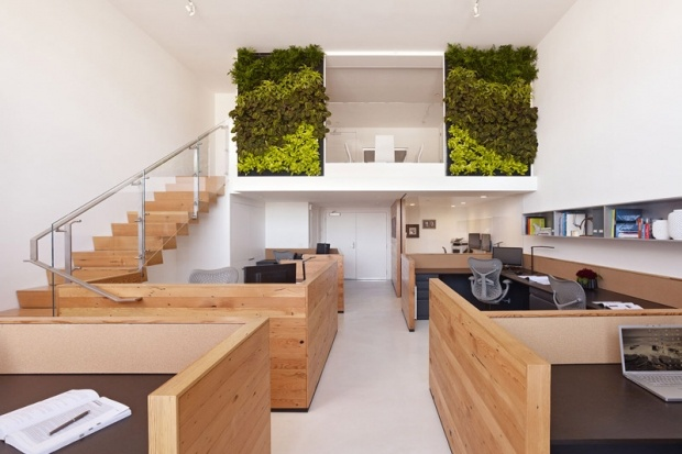 Love the simplicity.  The wood finishes & green walls bring so much calmness.  I can't imagine any boss screaming at me in here!!