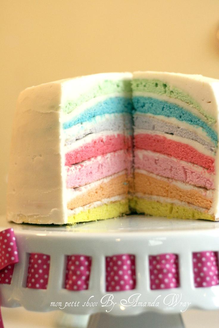 Pastel rainbow layered cake. | Tea & Crumpets | Pinterest