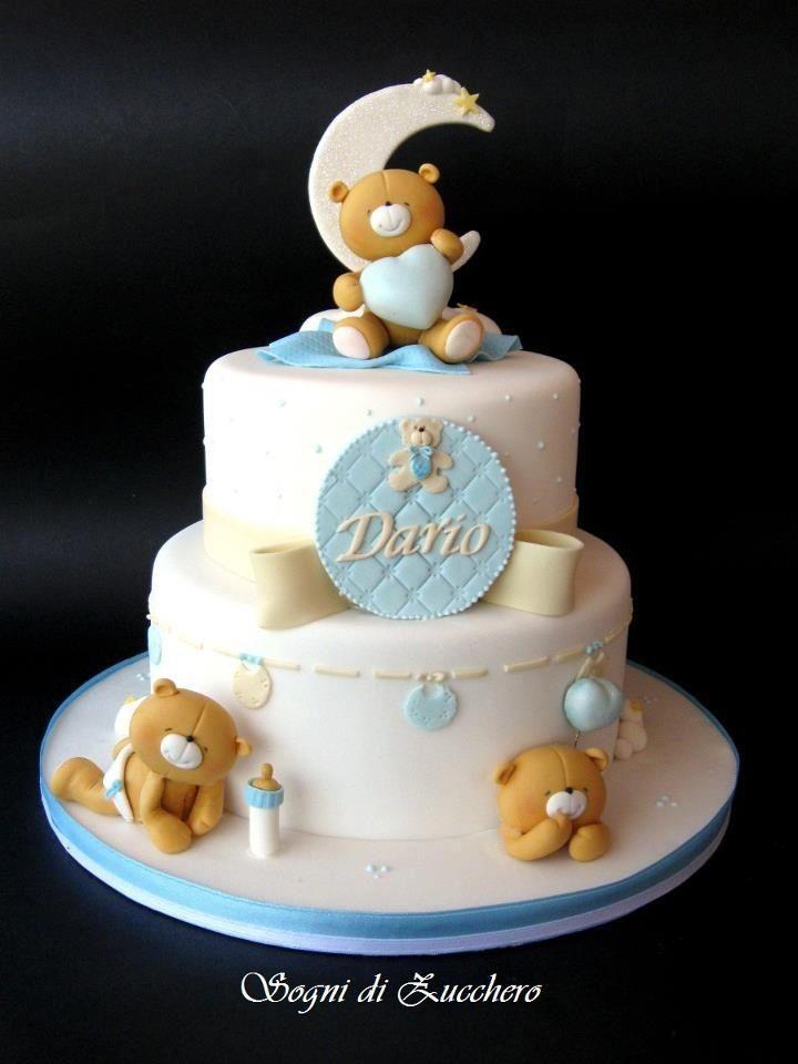 Tarta fondant ositos Baby cakes Pinterest