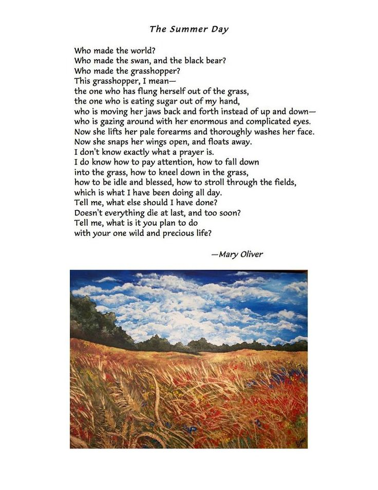 the summer day mary oliver When i first read the title of this poem, the summer day, i expected something related or referring to summer however, reading just the first line revealed to me.
