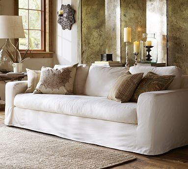 Pottery Barn Solano sofa white slipcover