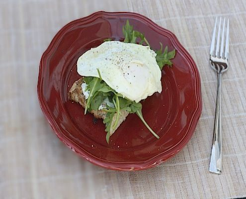 Open Faced Sandwiches with Goat Cheese, Arugula, and a Fried Egg | Re ...