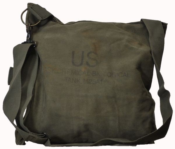 US GAS MASK BAG- $6.99.     US GI GAS MASK BAG  CHEMICAL/BIOLOGICAL  OLD STYLE GAS MASK BAG  SIDE ENTRY  SNAP CLOSURE  SHOULDER AND WAIST STRAP
