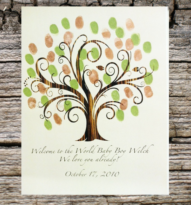 welcome to the world baby shower fingerprint tree