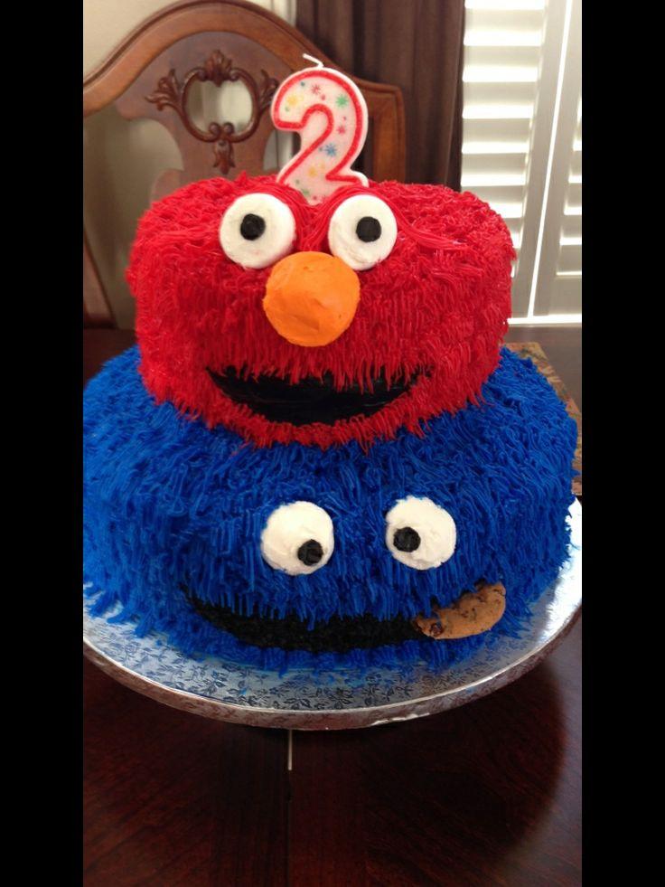 Elmo & Cookie Monster Birthday Cake  Cupcakes & Cakes  Pinterest
