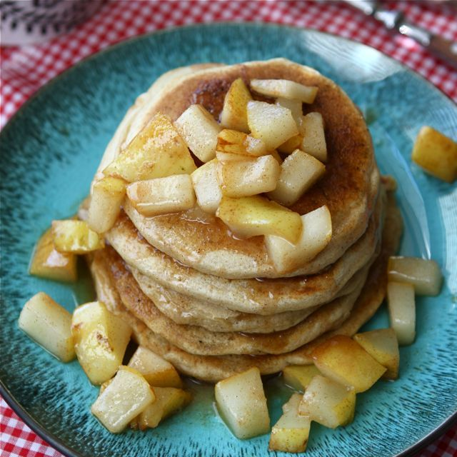 caramel amp sea salt pear pancakes mostly healthy and oh so yummy ...