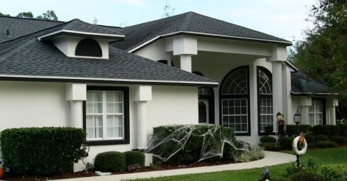 White Stucco With Black Trim House Aspirations Pinterest