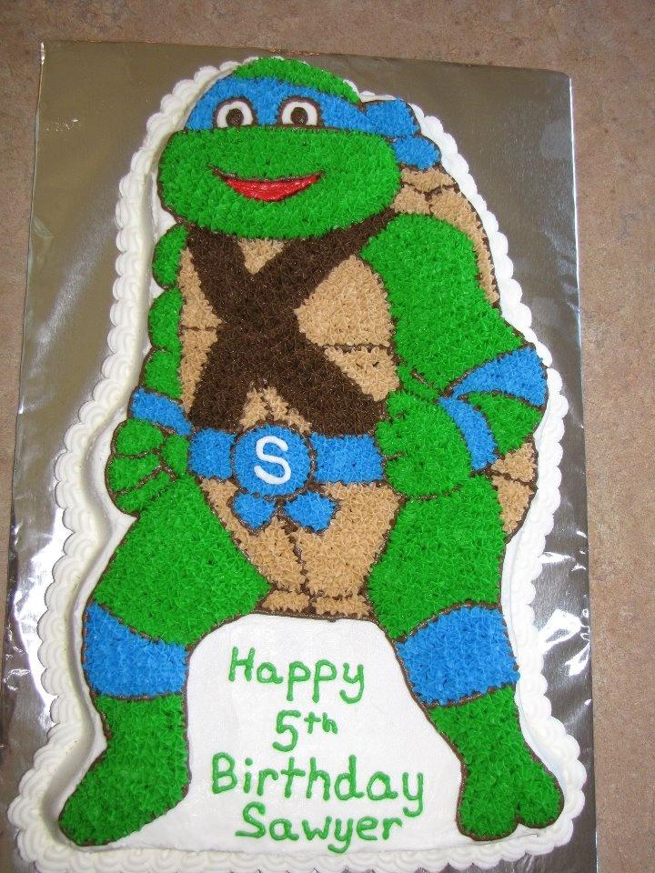 Teenage Mutant Ninja Turtle cake. Yikes - this cake pan sells for $49.99 minimum on Amazon!