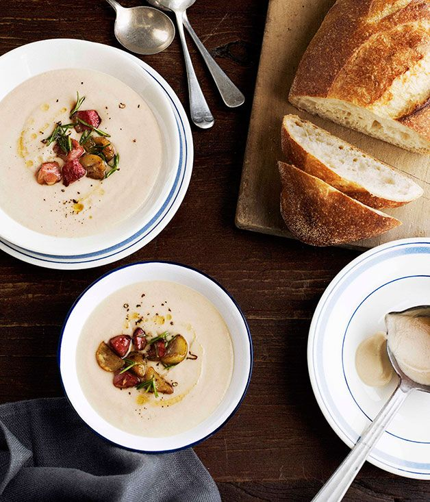 Creamy bacon and celeriac soup with fried chestnuts - Gourmet ...