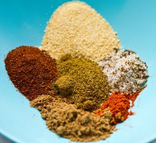 Quinoa with spices. I make it with veggie broth and add in veggies ...
